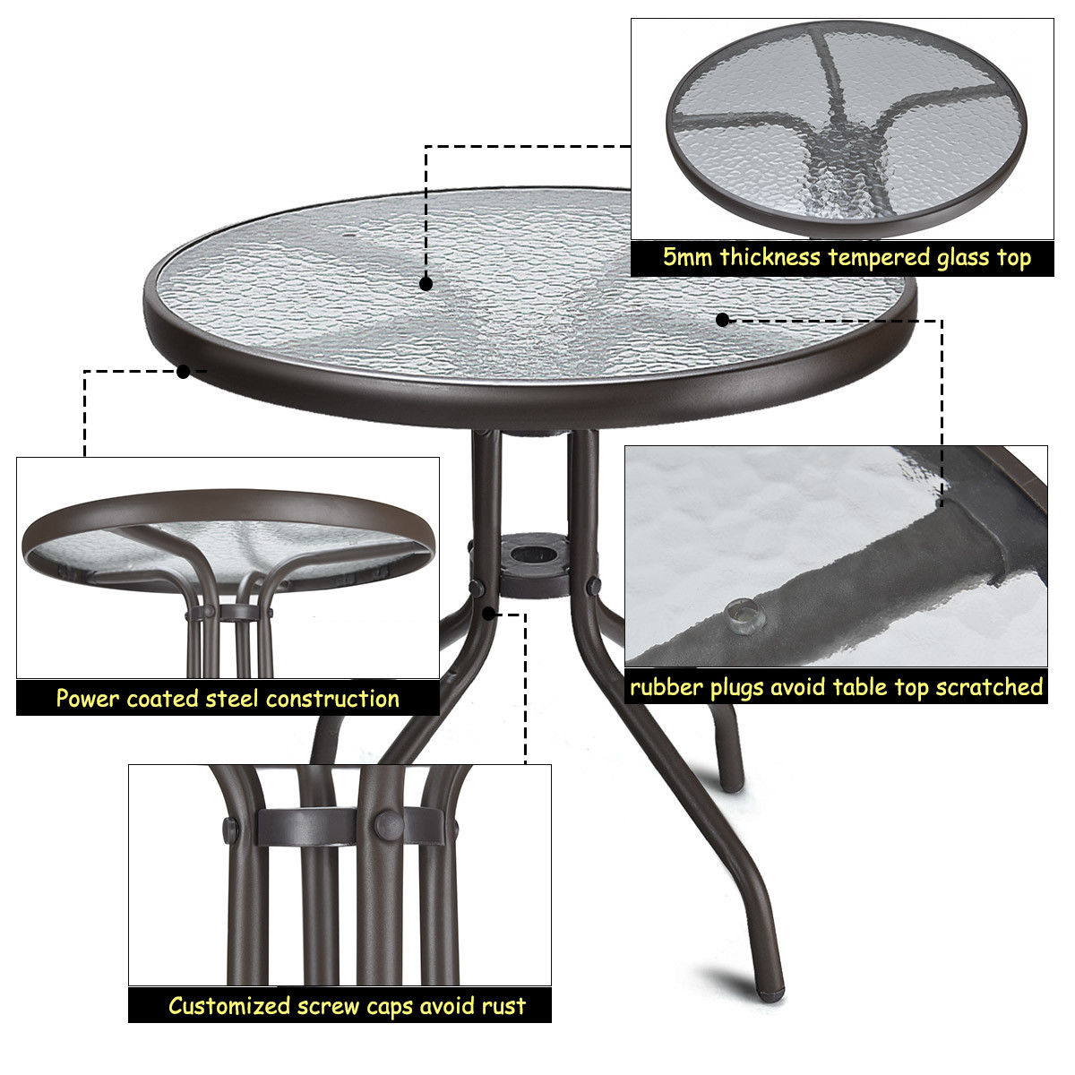 """24"""" Patio Round Table Tempered Glass Steel Frame Outdoor Pool Yard Garden - image 5 of 9"""