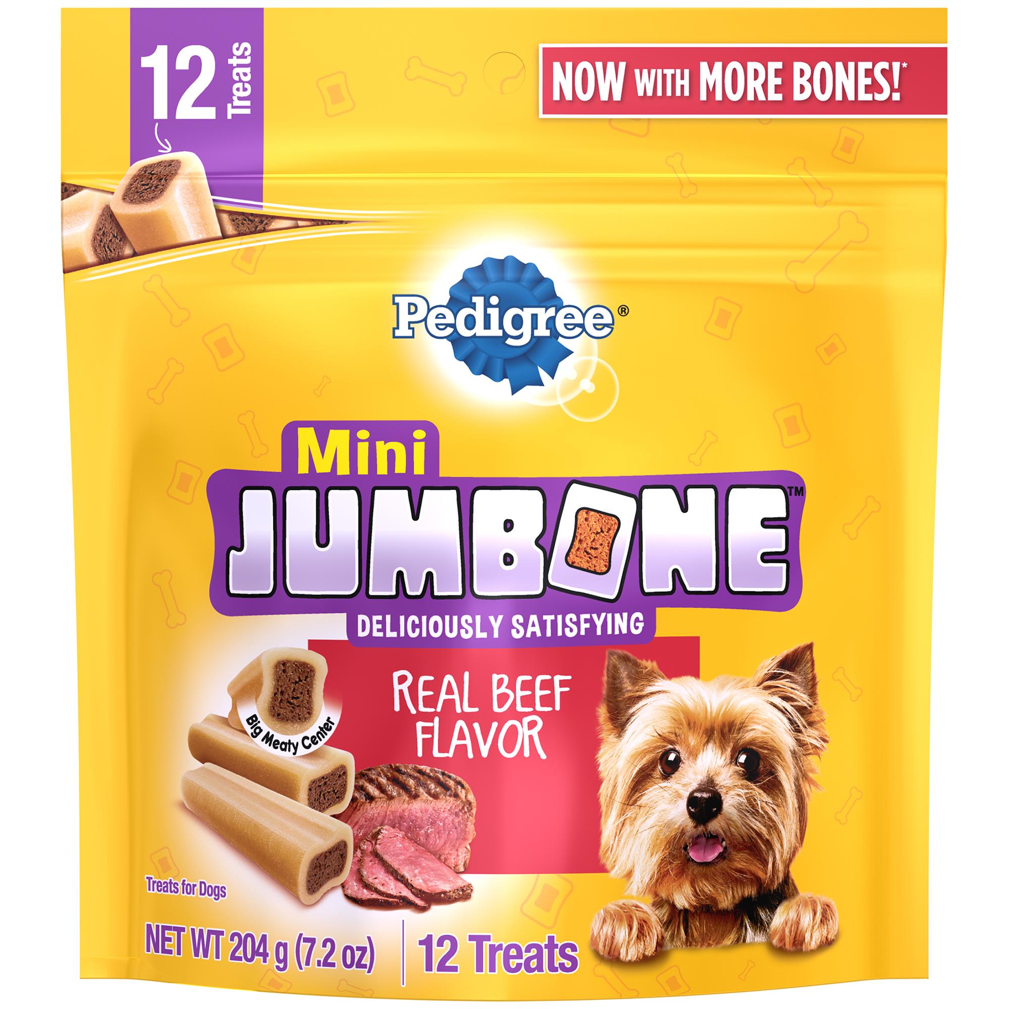 Pedigree Jumbone Small Breed Adult Dog Treats, Beef, 7.2 Oz (12 Treats)