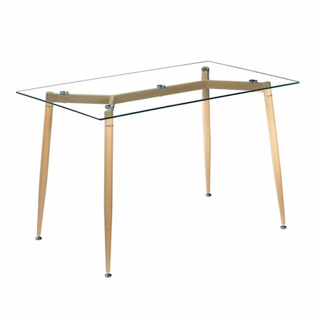 Designs Dining Table with Tempered Glass Top and Wooden Look Metal Legs Contemporary Rectangular 47