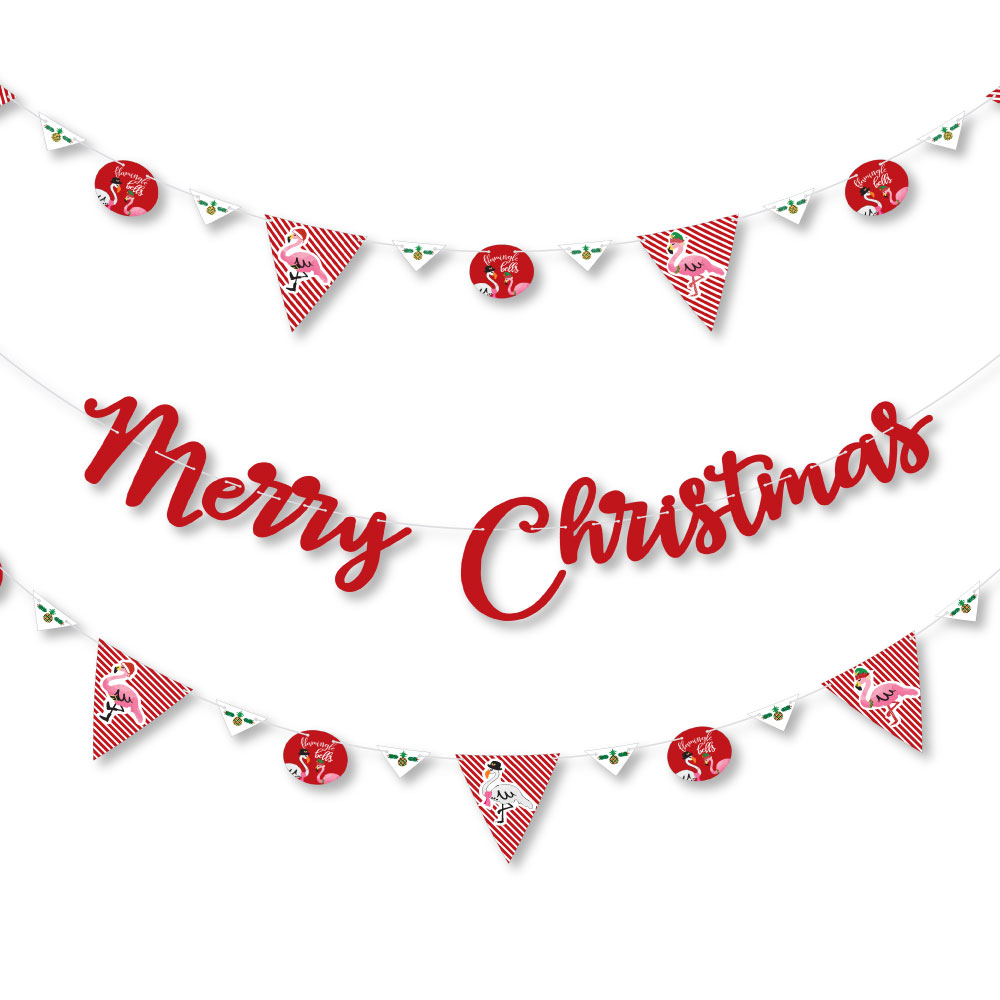 Flamingle Bells - Tropical Christmas Party Letter Banner Decoration - 36 Banner Cutouts Merry Christmas Banner Letters