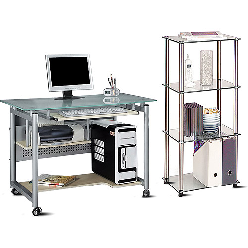Glass Top Mobile Desk and 4-Tier Bookcase Value Bundle