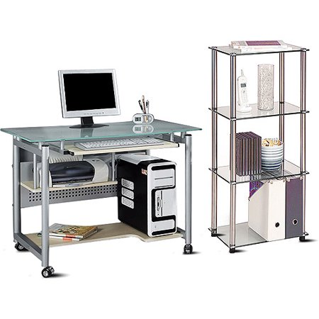 Glass Top Mobile Desk and 4-Tier Bookcase Value Bundle 3 Piece Glass Desk
