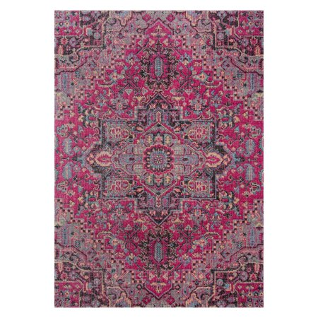 Momeni Jewel Polypropylene Machine Made Pink Area Rug 2' X 3' (Jewel Panel Rug)