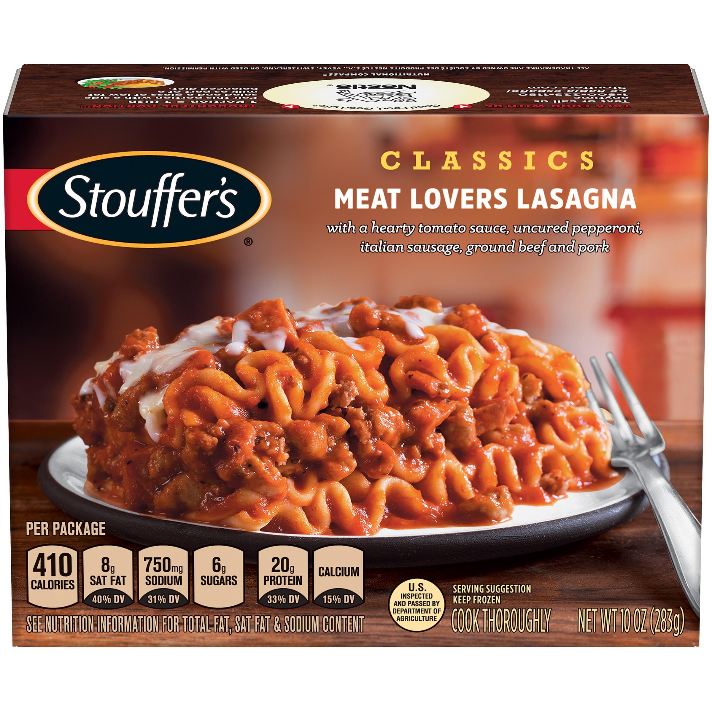 STOUFFER'S CLASSICS Meat Lovers Lasagna 10 oz. Box