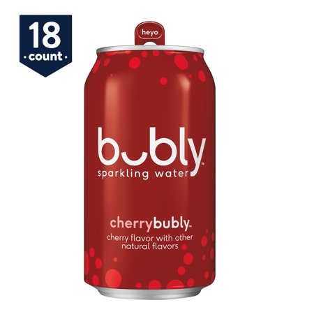 bubly Sparkling Water, Cherry, 12 oz Cans, 18 Count Oak View Cherry