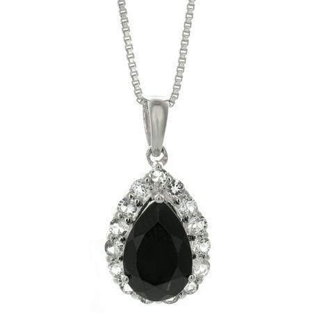 9x6 Pear Shape Black Onyx White Topaz Sterling Silver Pendant 18