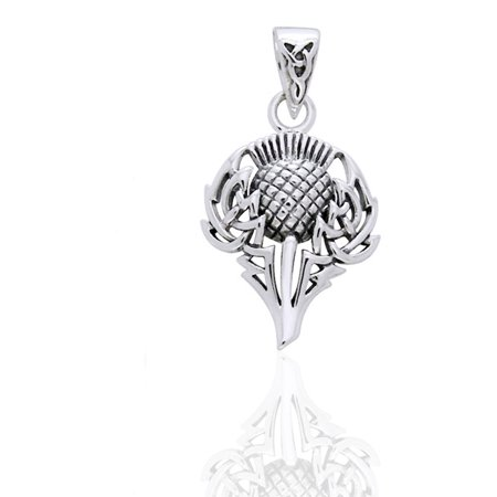 Sterling Silver Thistle (Scottish Spirit of Alba Thistle Celtic Knot Art Sterling Silver Pendant by Courtney Davis )