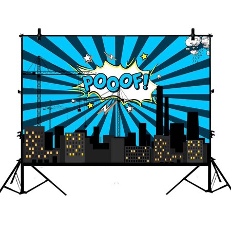 GCKG 7x5ft Hero City Cartoon Polyester Photography Backdrop Photography Props Studio Photo Booth Props - image 1 of 4