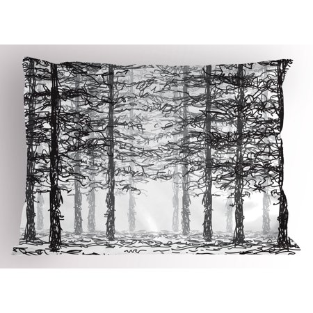 Forest Pillow Sham Monochrome Nature Sketch Abstract Scribble Style Tall Trees Timberland Grove Decorative Standard King Size Printed Pillowcase 36