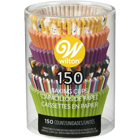Wilton Ghost Emoji, Solid and Striped Cupcake Liners, 150-Count
