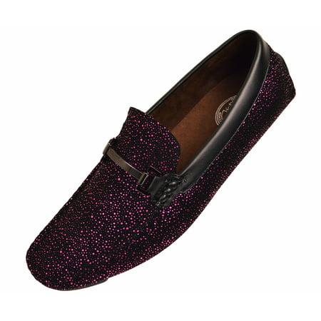 Amali Mens Metallic and Black Speckled Driving Shoe, Comfort Dress Driver Loafer, Style Brogan &