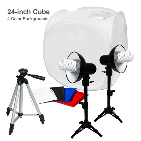 Loadstone Studio 24 x 24 Inches Photography Table Top Photo Studio Lighting Box Kit, Tripod Camera Video Stand with Bag, WMLS4417 (Photo Light Box 24 Inch)