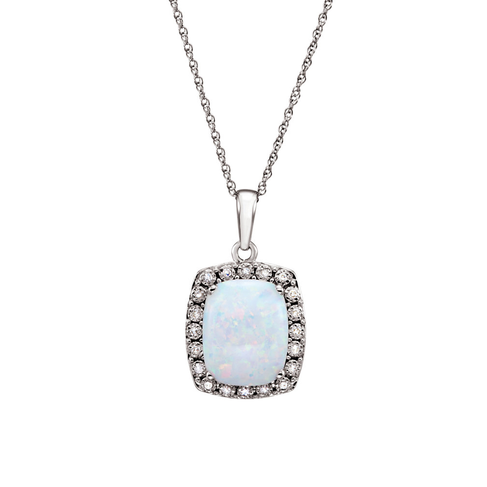 Cushion Created Opal & .05 Ctw Diamond 14k White Gold Necklace, 18 Inch by Black Bow Jewelry Company