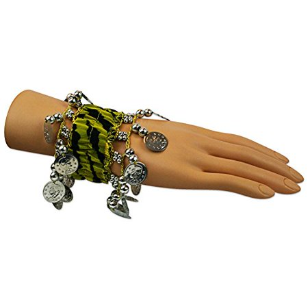 Hip Shakers 1 Pair Belly Dance Wrist Band Ankle Cuff Arm Bracelet 18 SILVER Coins](Dance Wristbands)