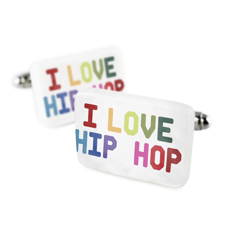 Cufflinks I Love Hip Hop,ColorfulPorcelain Ceramic NEONBLOND