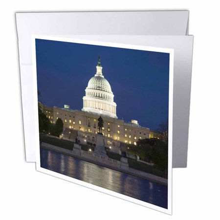 3dRose Washington, D.C. Reflection of Capitol Building - US09 BJA0045 - Jaynes Gallery, Greeting Cards, 6 x 6 inches, set of (Capitol Card)
