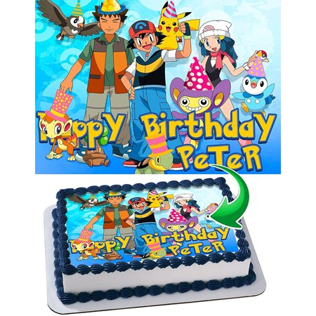 Pokemon Personalized Cake Toppers Icing Sugar Paper A4 Sheet Edible Frosting Photo Birthday Topper 1 4 Pikachu