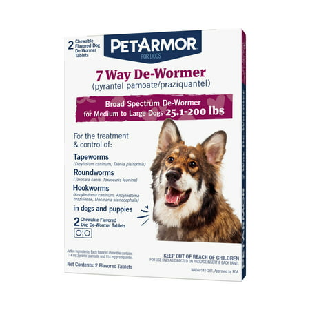 PetArmor 7 Way De-Wormer for Dogs (Over 25 lbs), 2 Chewable