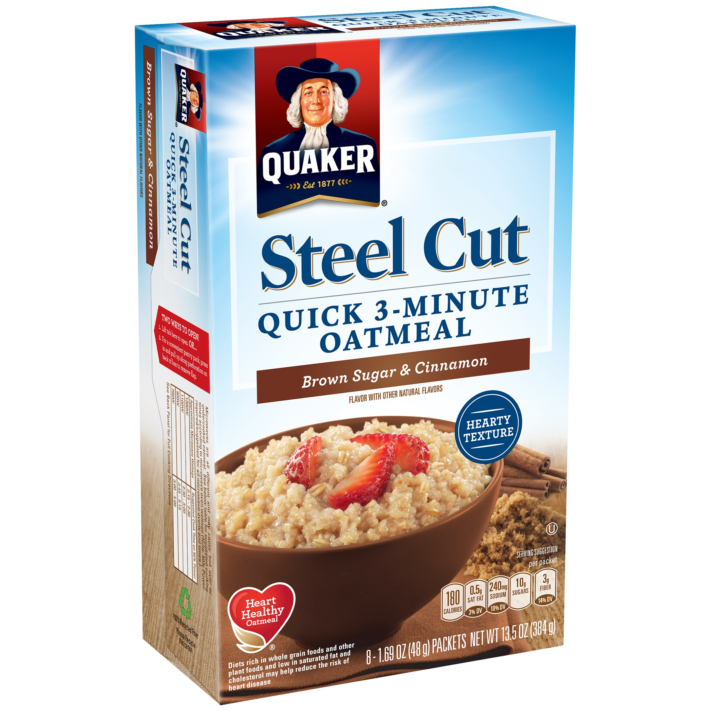 Quaker Steel Cut Brown Sugar Cinnamon Quick 3 Minute Oatmeal 8 1 69 Oz Packets