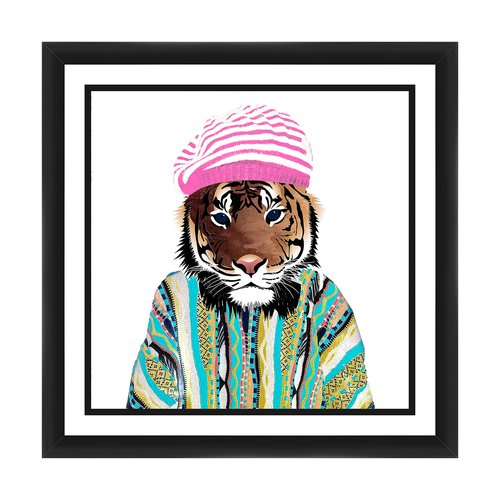PTM Images Hatted Tiger Framed Graphic Art
