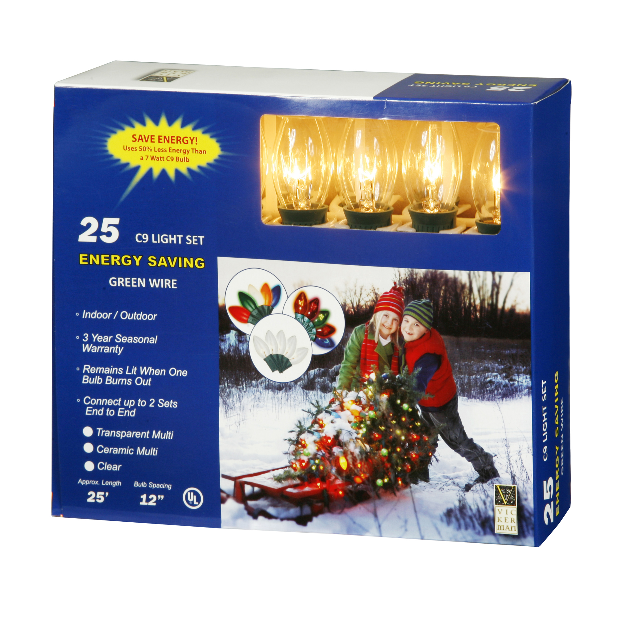 "Vickerman 25 Light C9 Clear End Connecting Set 12"" Bulb Spacing 25' Long"