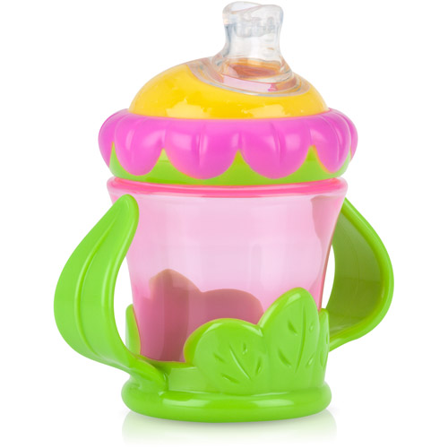Nuby Flower Child 7-oz 2 Handle No-Spill Super Spout Trainer Cup, BPA-Free