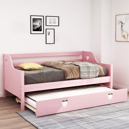 Daybed Bedding, URHOMEPRO Twin Daybed with Trundle, Heavy Duty Solid Wood Daybed Frame with Wooden Slats for Adults Teens Kids, Modern Bed Sofa for Living Room Guest Room, 220 lbs Capacity, L3962