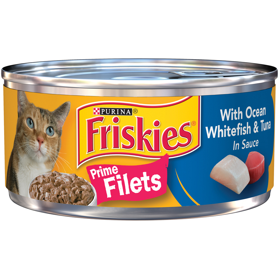 Friskies Prime Filets with Ocean Whitefish & Tuna in Sauce Cat Food Case of 24- 5.5 oz. Cans