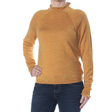 FREE PEOPLE Womens Yellow Ruffled Heather Long Sleeve Turtle Neck Evening Sweater  Size: S