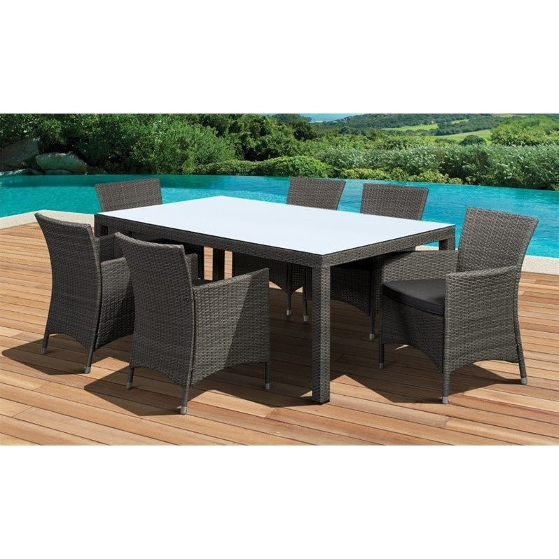 Grand New Liberty Rect 7-Piece Patio Dining Set Gray w/Cushions