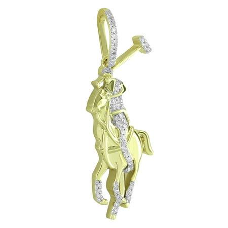 Horse Polo Diamond Pendant 10k Yellow Gold Charm Custom Style Brand New Men  Women