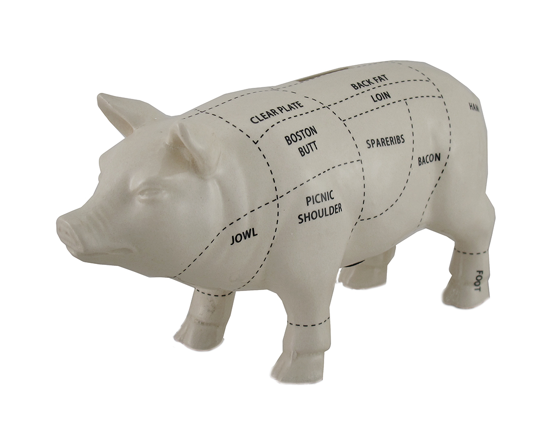 White Ceramic Pig Shaped Coin Bank Butcher Chart Piggy Bank 4 in. by Contrast Inc.