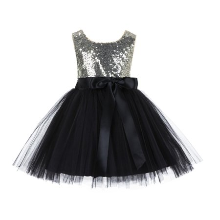 Ekidsbridal Wedding Pageant Glitter Sequin Tulle Flower Girl Dress Toddler Junior Bridesmaid Recital Easter Holiday Communion Birthday Girls Clothing Baptism Special Occasions Formal 123s - Cute Holiday Dresses For Girls
