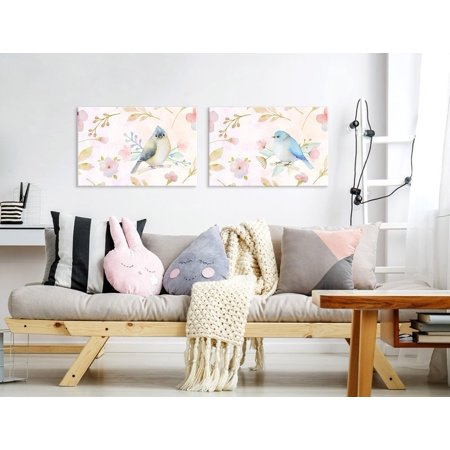 - wall26 Canvas Wall Art - Watercolor Style Painting of Pink Birds and Floral Patterns - Giclee Print Gallery Wrap Modern Home Decor Ready to Hang - 24