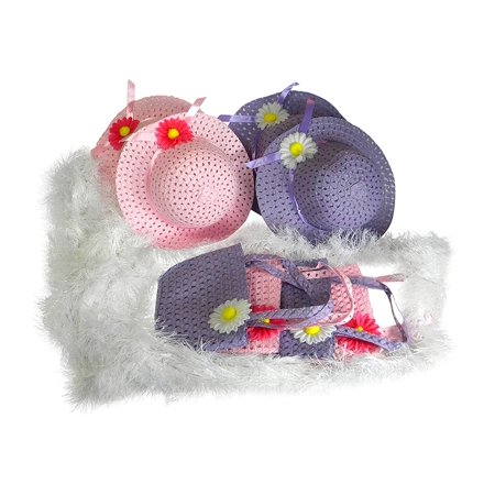 Girls Tea Party Hats Dress Up Play Set For 4 With Pink and Purple Sun Hats, Purses, and Boas