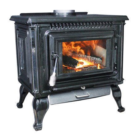 Ashley 2,000 Sq. Ft. EPA Certified Black Enameled Porcelain Cast Iron Wood stove with Blower