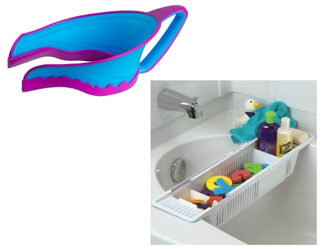 Lil' Rinser Splashguard Shampoo Rinser & Bath Organizer Basket, Yellow by Lil Rinser