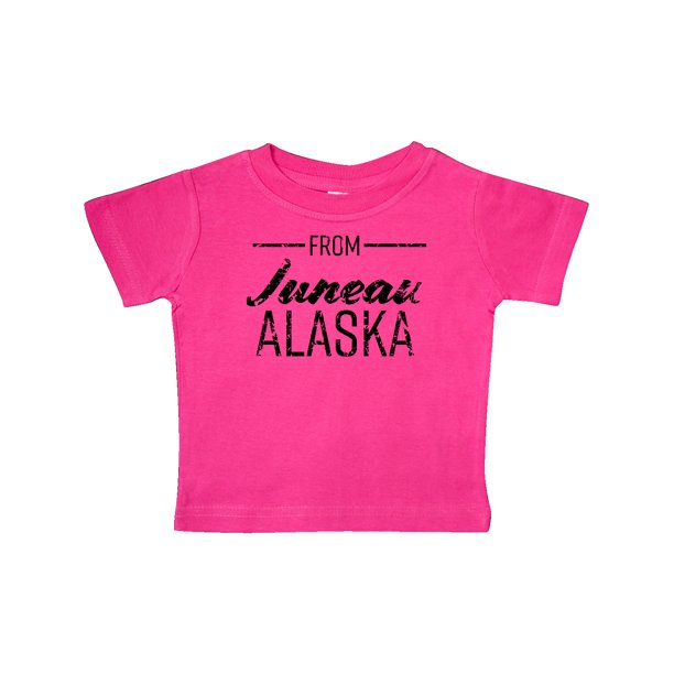 From Juneau Alaska in Black Distressed Text Baby T-Shirt