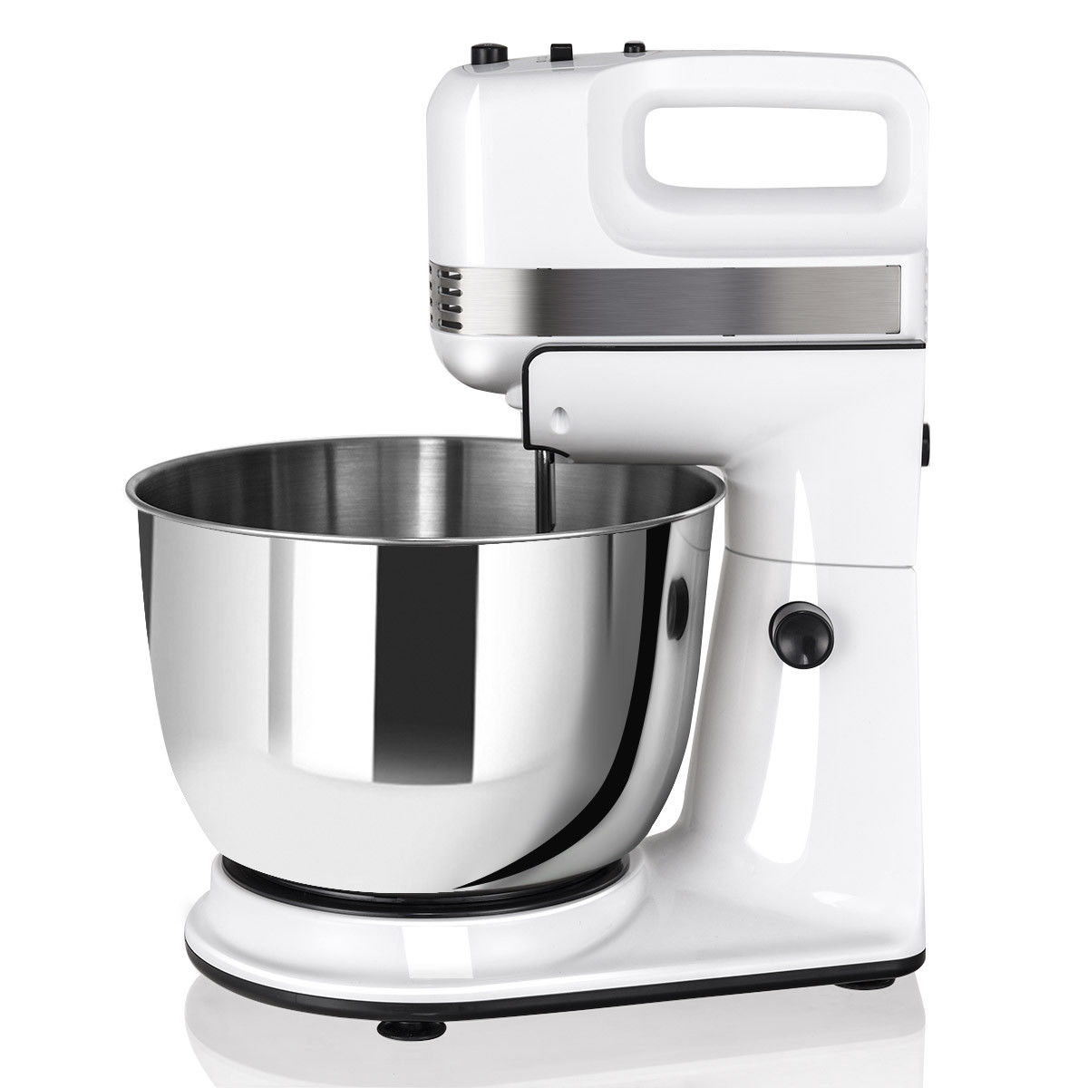 Costway 250W 5-Speed Stand Mixer w/ with Dough Hooks Beaters and Stainless Steel Bowl