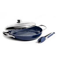"Blue Diamond Ceramic 11"" Grill Genie with Steaming Lid + BONUS Tongs"