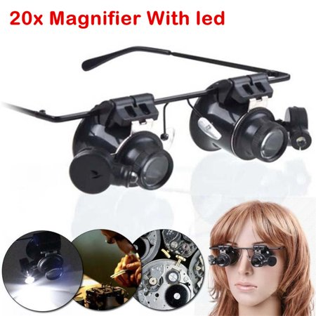 LED Magnifier Double Eye Loupe Glasses Jeweler Watch Repair 10X 20X
