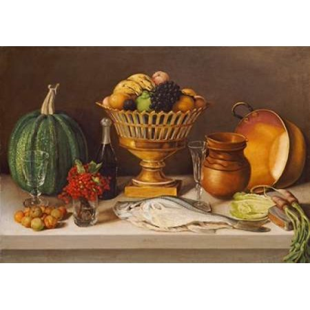 Still Life With Fish and a Pumpkin Rolled Canvas Art - Jose Agustin Arrieta (10 x 14) - Pumpkin Life Cycle