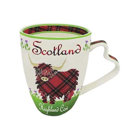 Royal Tara Cup Scottish Highland Cow Colorful Coffee Mug - 380ml or 13fl oz Royal Rose Footed Cup