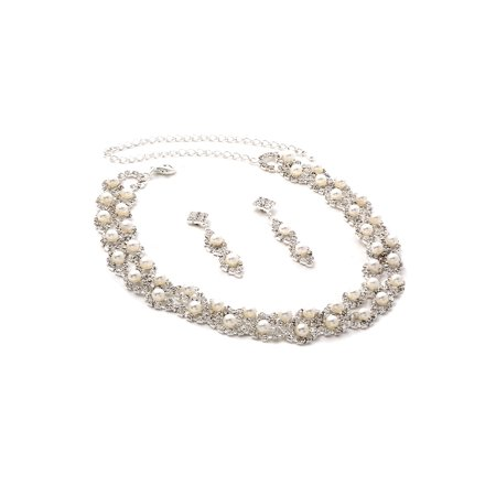 - Silver Crystal Rhinestone Criss Cross Necklace with White Pearl Inserts and Matching Dangle Earrings Jewelry Set