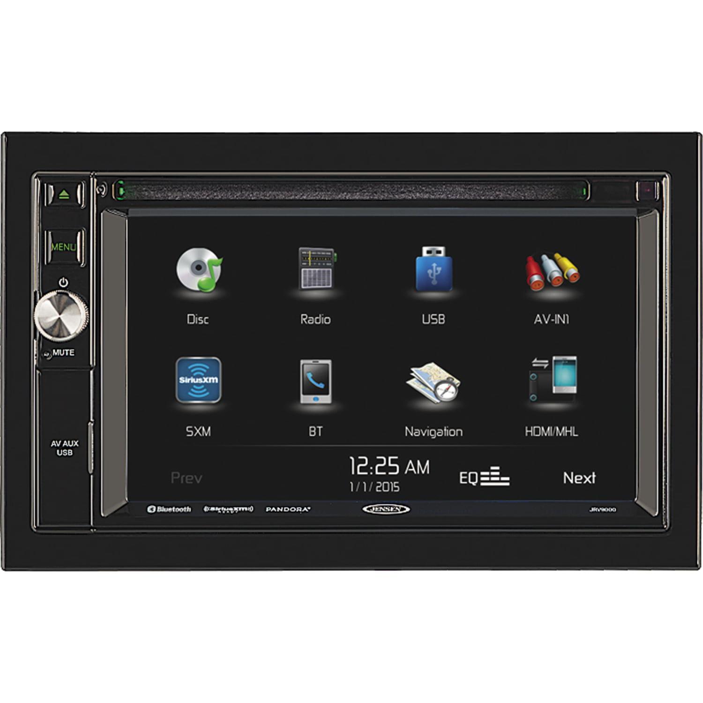 "JENSEN JRV9000R JRV9000 R 2.0 Double DIN 6.2"" Touchscreen Navigation / Bluetooth Multimedia Receiver System with Harness, DVD, NAV, SiriusXM Ready, BT Technology, iPhone / iPod, MHL, HDMI, USB, AV In"