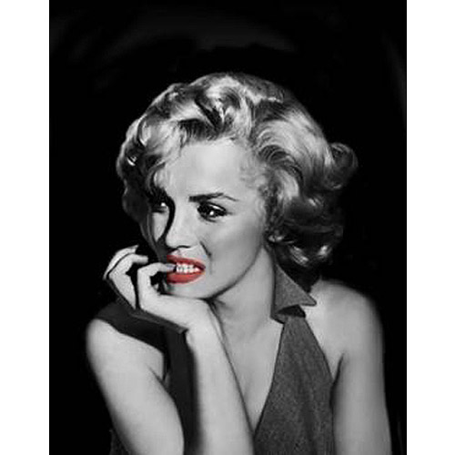 "Marilyn Monroe Black and White Biting Her Nails Canvas Wall Art, 15"" x 19"""