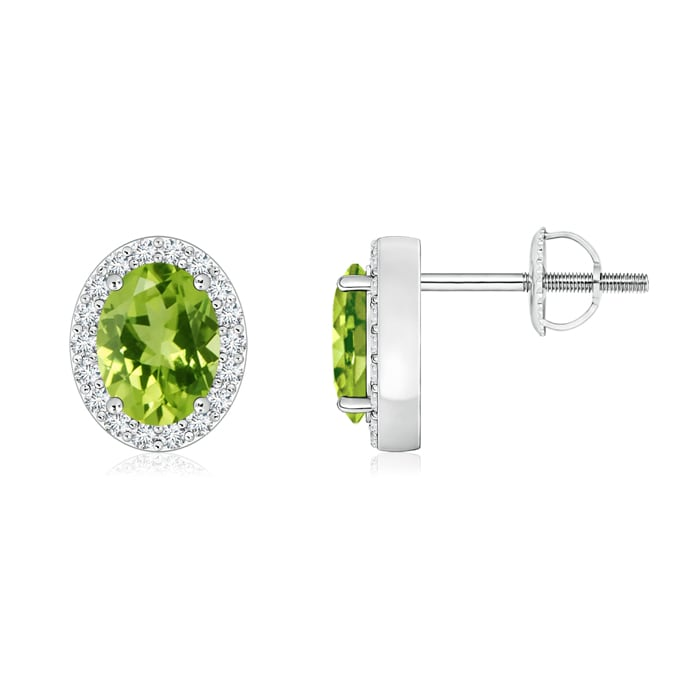 Angara Peridot Stud Earrings in Platinum with Screw Back qPVTo4
