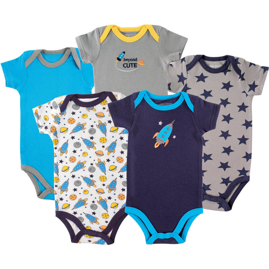 Luvable Friends Newborn Baby Boys Bodysuit 5-Pack Rocket