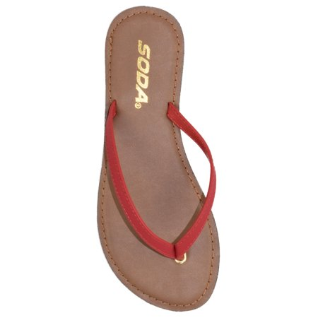 c6cb98aa9a213 Soda - Soda Shoes Women Flip Flops Basic Plain Sandals Strap Casual Beach  Thongs FELER Red Lipstick 5.5 - Walmart.com