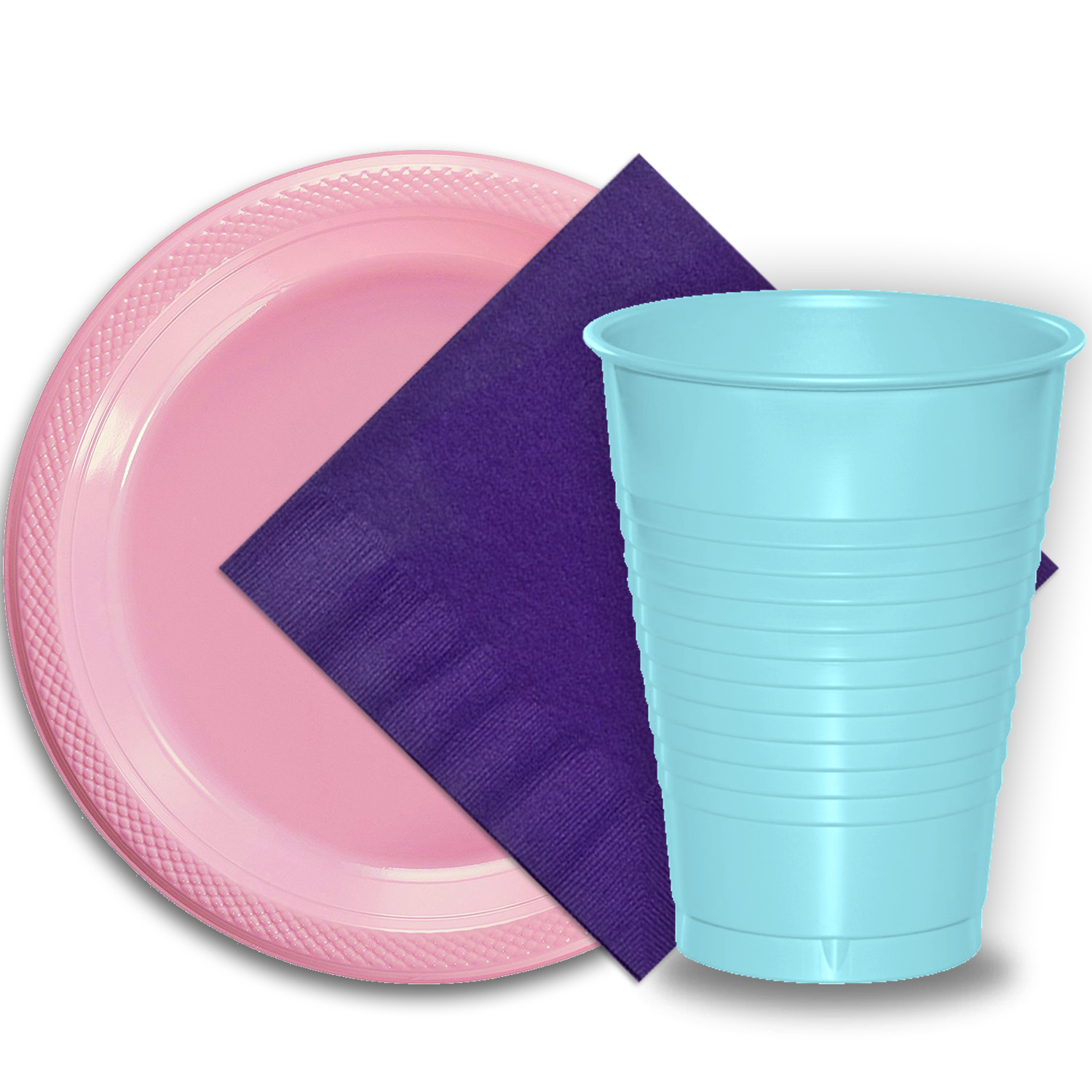 "50 Pink Plastic Plates (9""), 50 Light Blue Plastic Cups (12 oz.), and 50 Purple Paper Napkins, Dazzelling Colored Disposable Party Supplies Tableware Set for Fifty Guests."